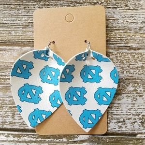 Tarheels Pinched Leather Earrings